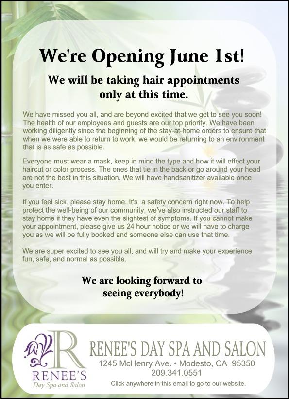 June Notice regarding opening on June 1st.