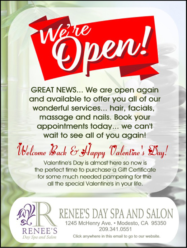 Renee's Day Spa Monthly special February 2021